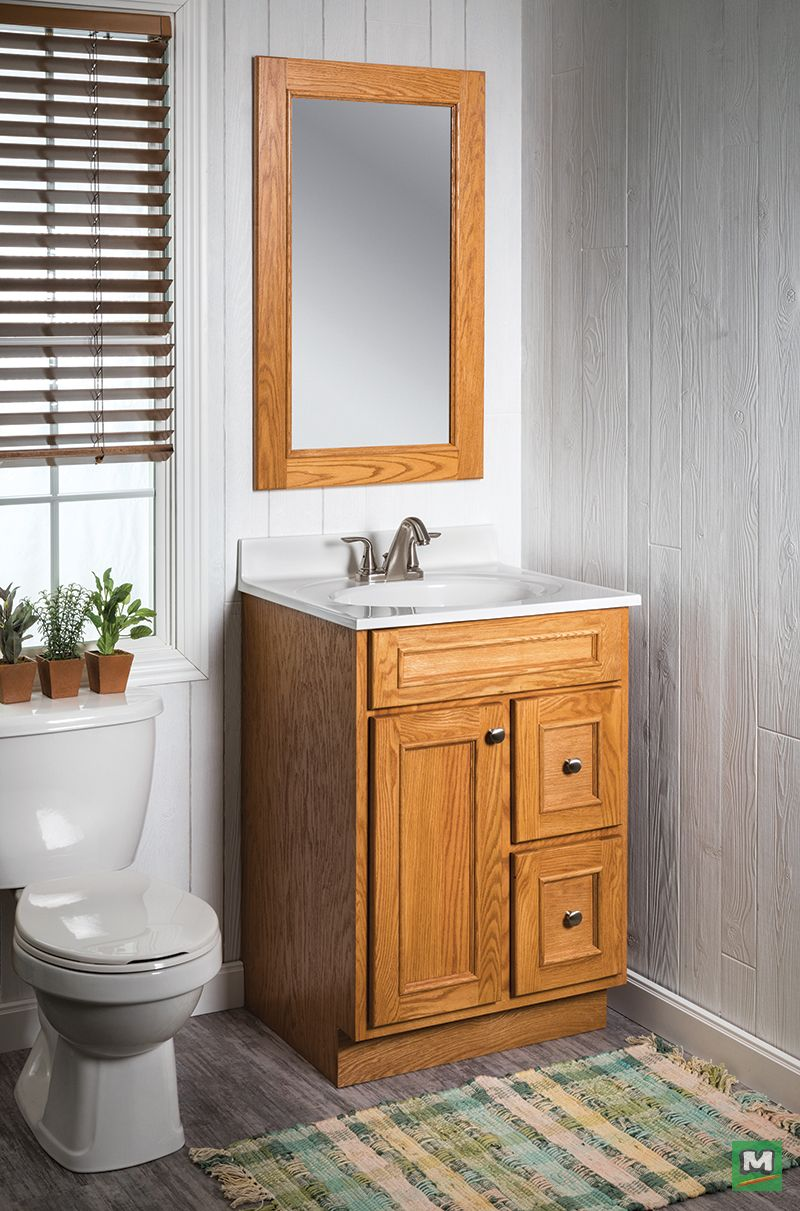 . Add the Briarwood Woodland mirror and vanity to your bath  It