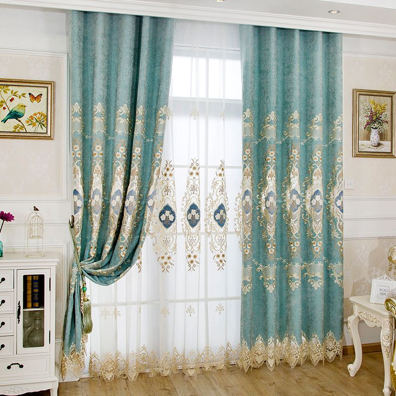 Luxury Damask Gold And Mint Green Apartment Window Curtains Lace