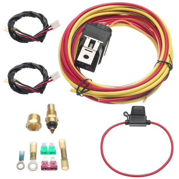 electric fan relay wiring harness thermostat dual sensor kit 40 amp heavy  duty