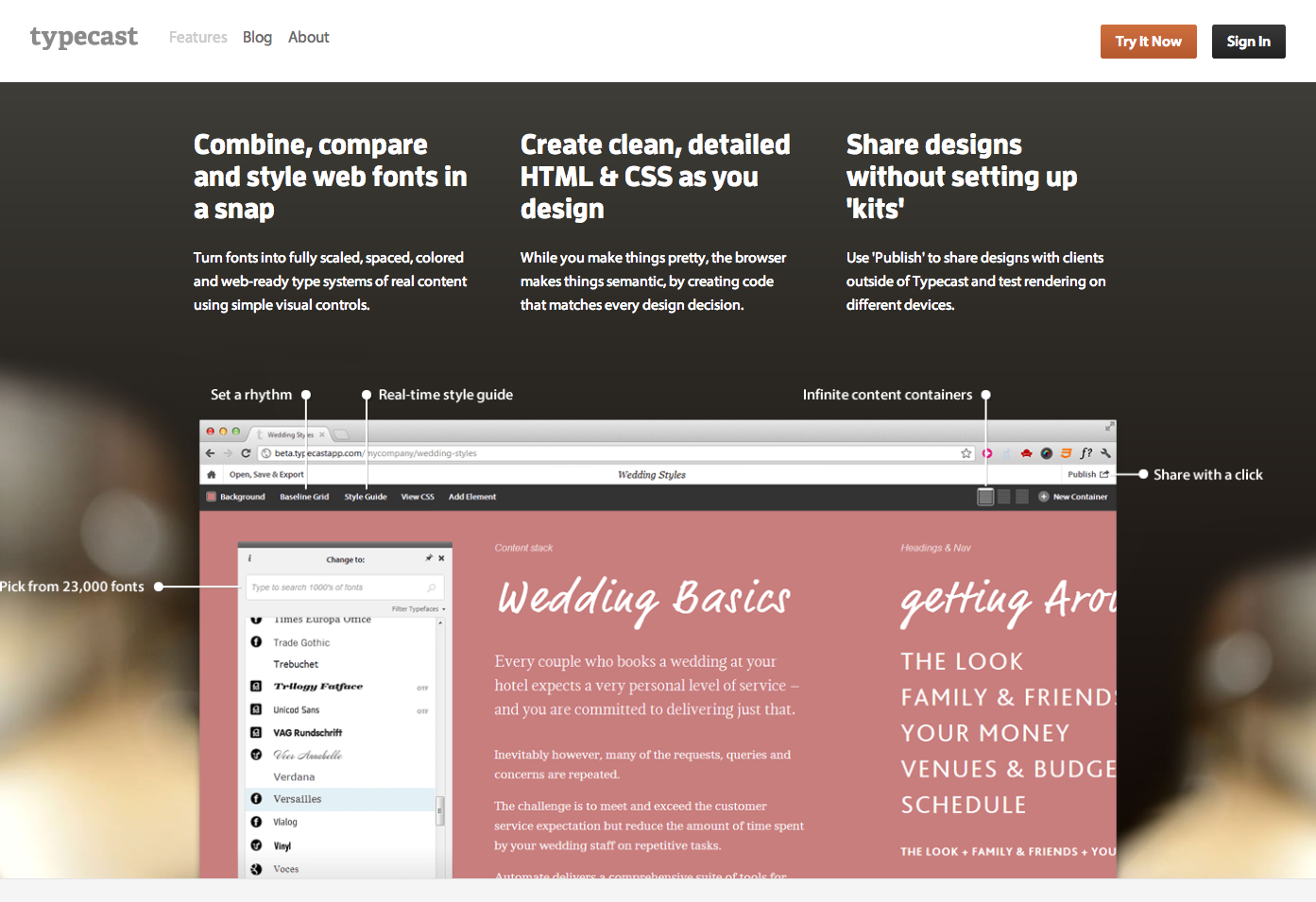 Typecast Design in the browser with web fonts and real