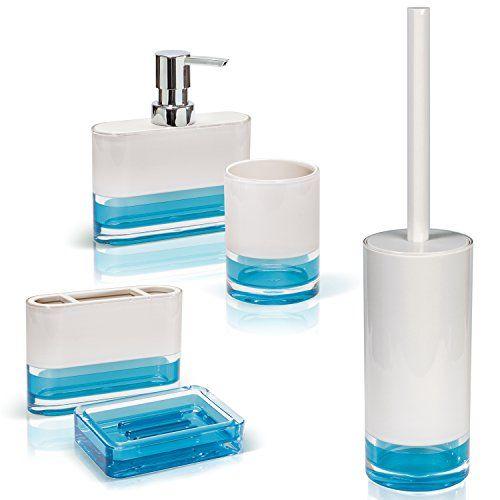 Tatkraft Topaz Blue Bathroom Accessories Set Of 5 Soap Dish Dispenser Bath Tumbler To Blue Bathroom Accessories Toilet Brushes And Holders Bathroom Accessories