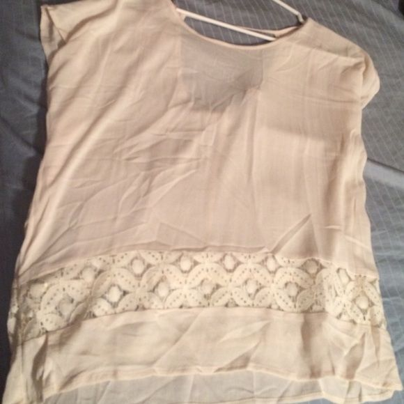 White top Super cute but super sheer it would look great layered! Never worn Tops Blouses