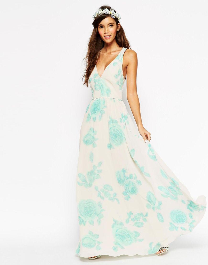 Maxi dress for wedding  ASOS WEDDING Maxi Dress In Watercolour Mint Rose Print  Swag