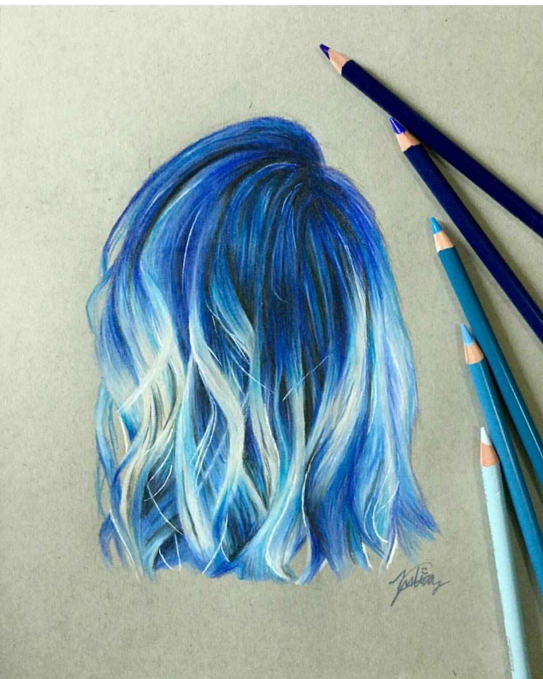 28 5k Likes 82 Comments University Art Artistuniversity On Instagram Blue Hair Study By Julenium Follow J Tech Art How To Draw Hair Art Drawings