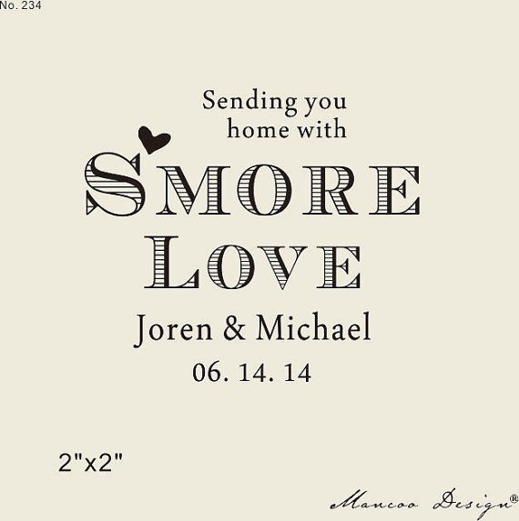 Custom Stamps Smore Love Rubber Stamp For Wedding Favors Diy Favor Personalized