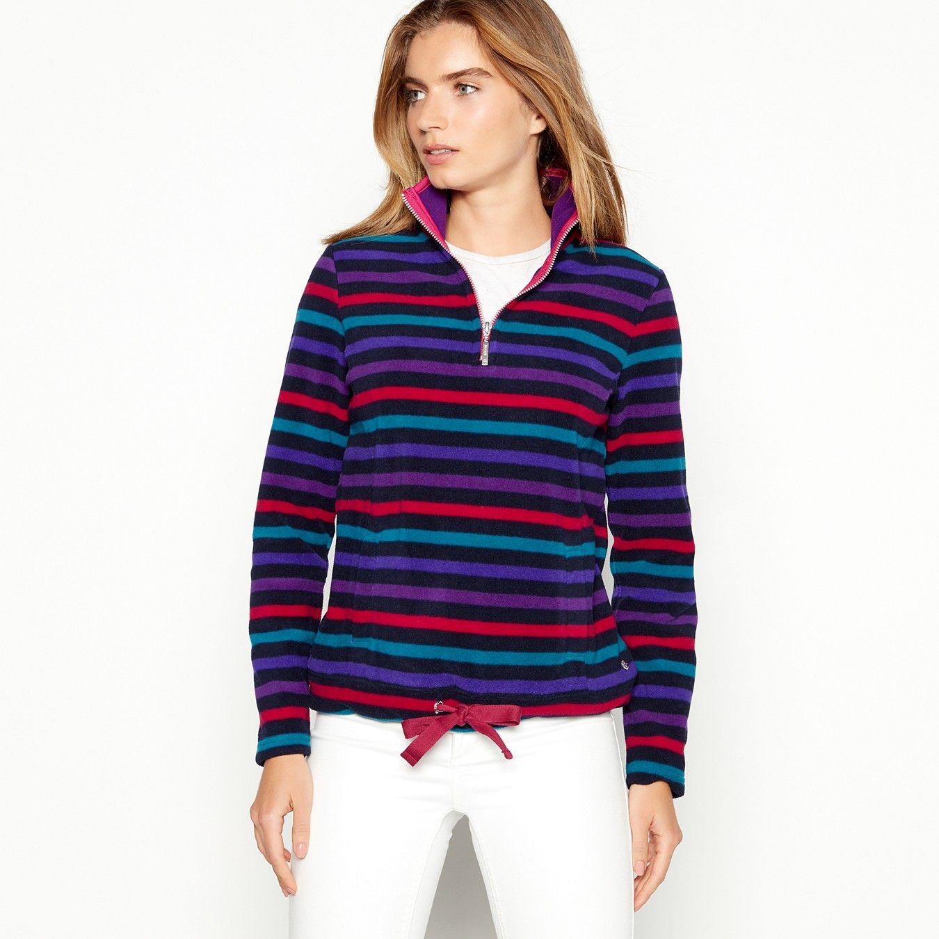 Navy Striped Half Zip Funnel Neck Fleece Clothes Clothes For Women Athletic Jacket [ 1350 x 1350 Pixel ]