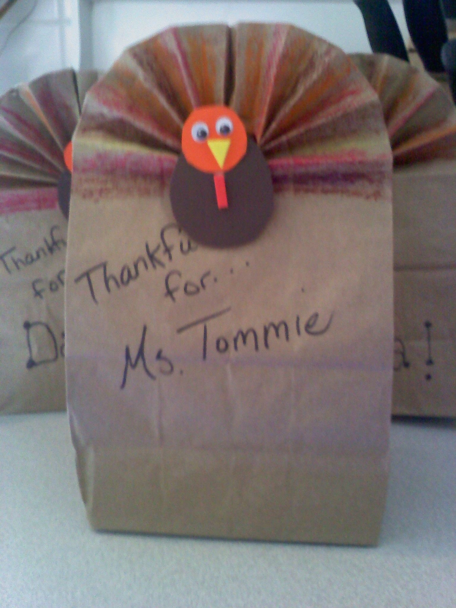 Brown paper bag Turkey Goodie bags using craft foam for the body!