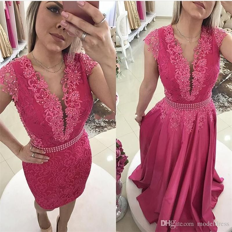 5cb62f483c 2017 New Fuchsia Arabic Lace Prom Dresses Jewel Appliques Pearls Detachable  Skirt Evening Party Pageant Gowns Robe De Soiree Cheap Custom Edgy Prom  Dresses ...
