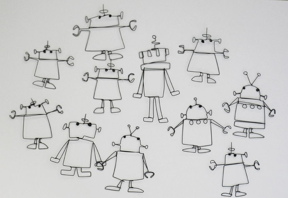 Robots   Wire Sketching   Pinterest   Robot, Adult crafts and Wire art