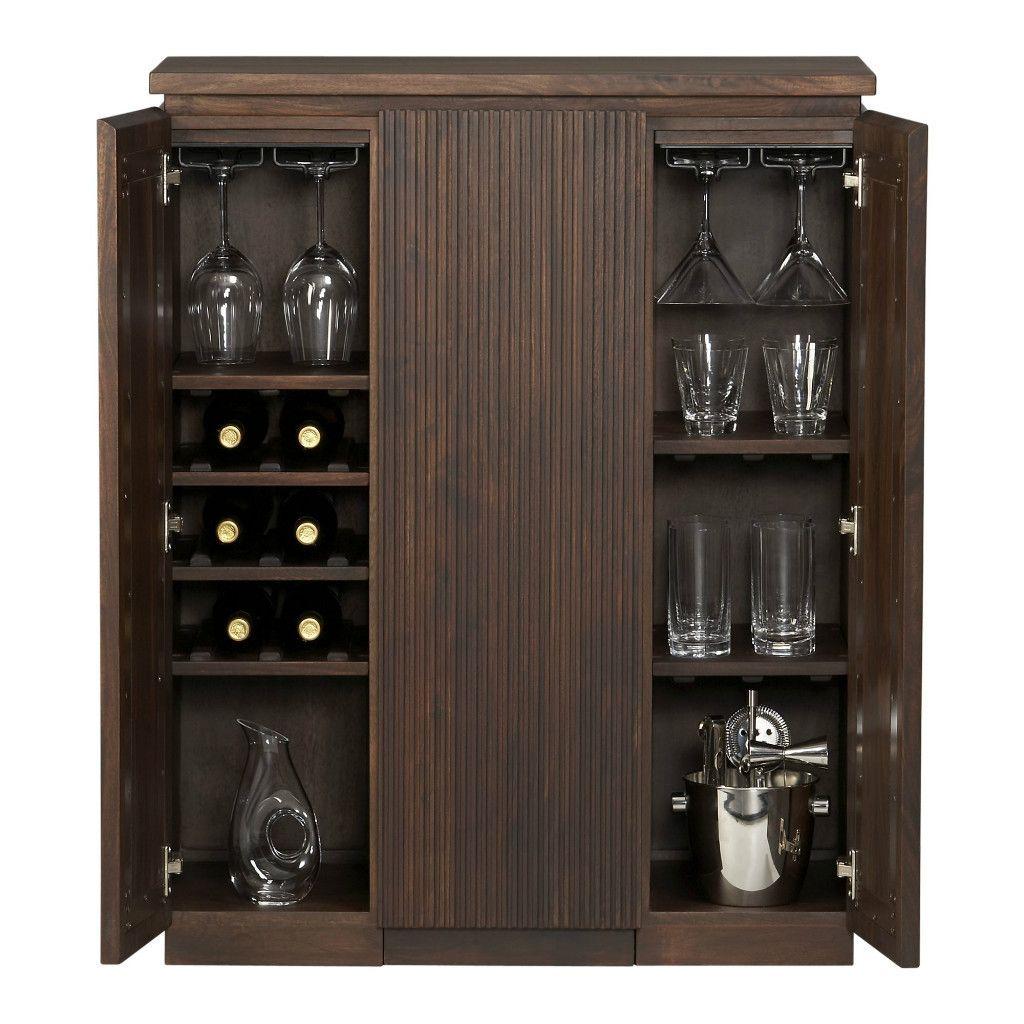 Monaco Liquor Wine Rack Whiskey Glasses Storage Bar Cabinet