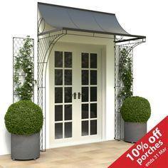 Door canopy and trellis! Love this!! | Cottage front doors ...