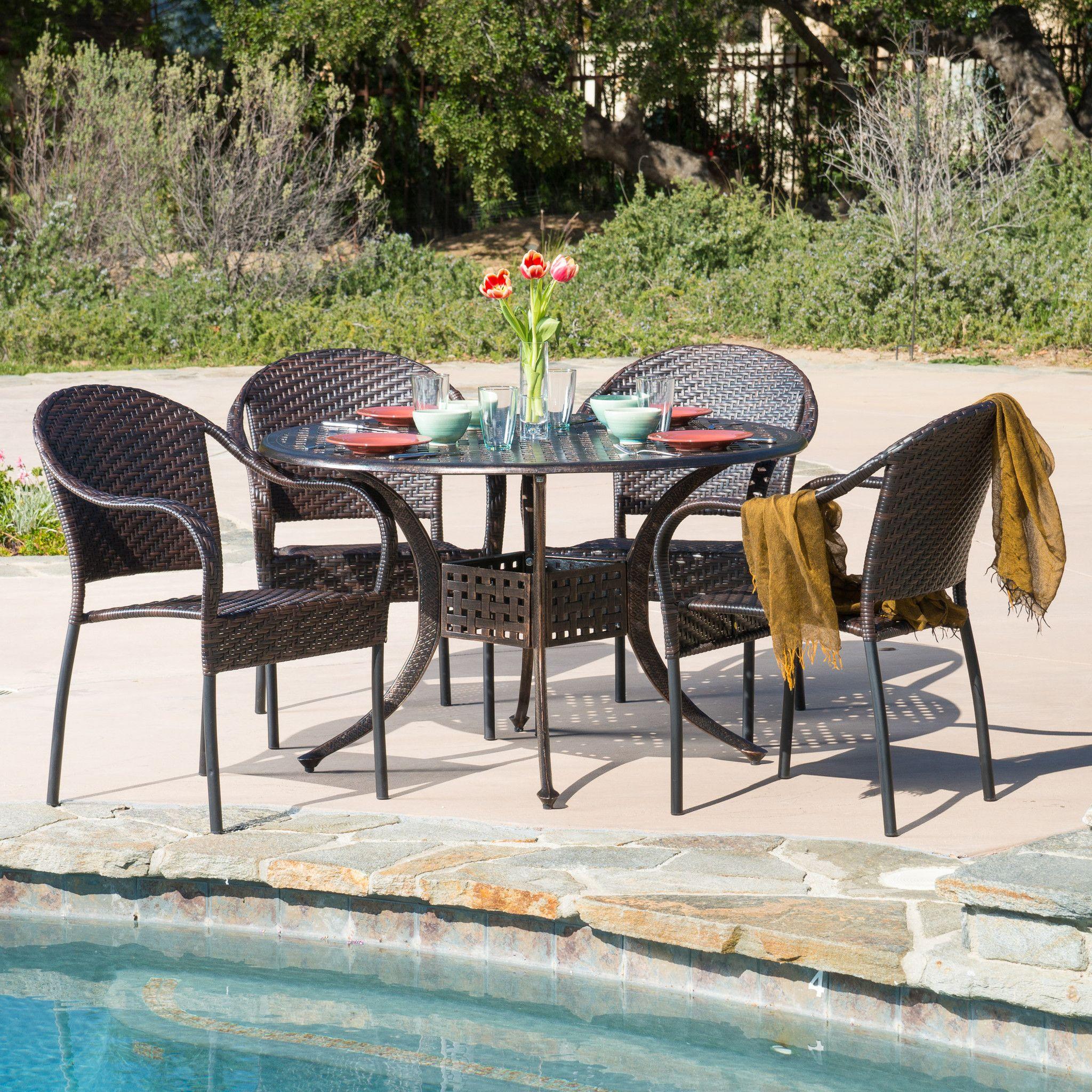 Livingston Outdoor 5pcs Cast Aluminum Wicker Dining Set The
