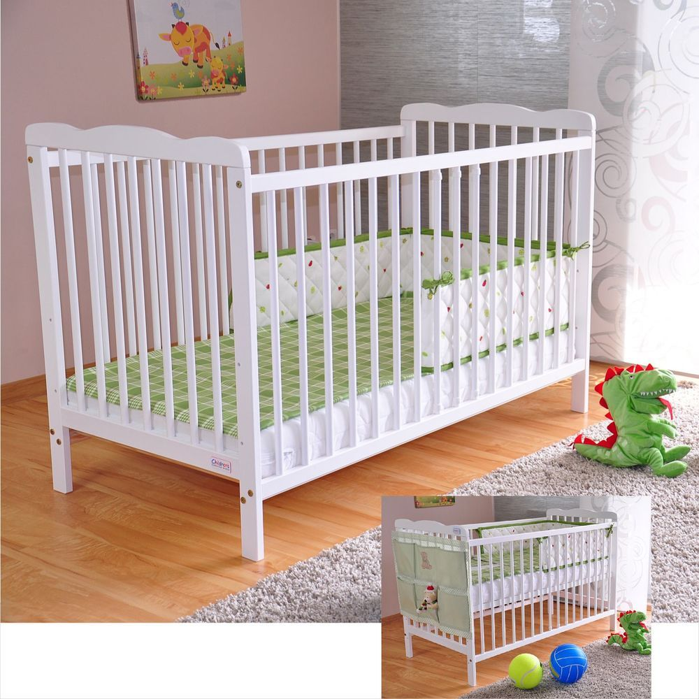 Baby Cot Bed with Drawer White Junior Toddler Bed Deluxe ...
