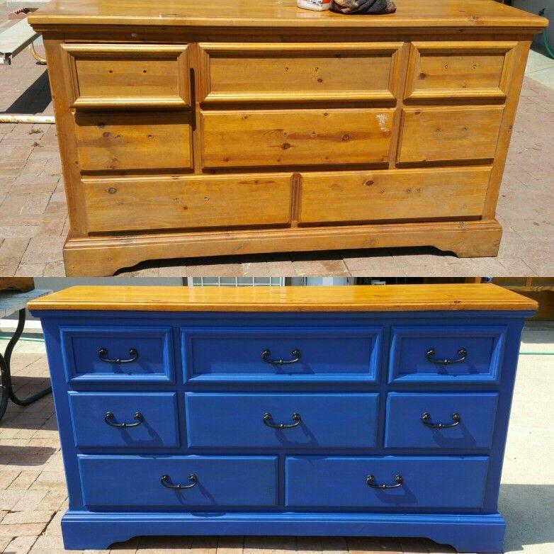 Pine Dresser Turned Into Inspired Golden State Warrior Color Dresser For Son Chalk Paint Before And After Colorful Dresser Warrior Paint Chalk Paint Furniture