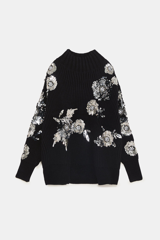 ad7e784f Image 8 of SEQUIN FLOWER SWEATER from Zara | Knitwear Picks in 2019 ...
