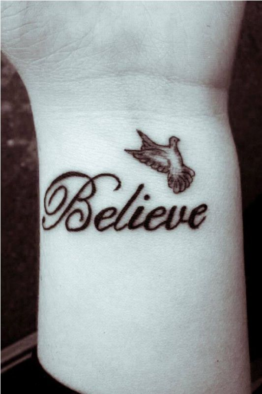 Small Dove Believe Tattoo For Wrist With Images Believe