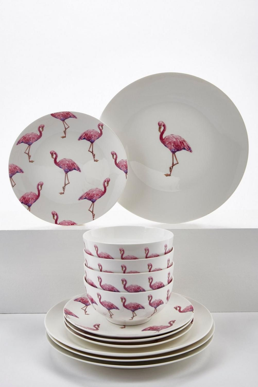 Image For 12 Piece New Bone China Pink Flamingo Dinner Set From - Flamingo Huisdecoratie