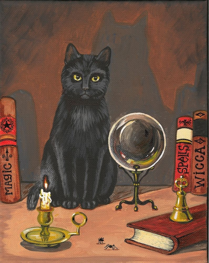 PRINT OF PAINTING 8X10 HALLOWEEN RYTA BLACK CAT CRYSTAL