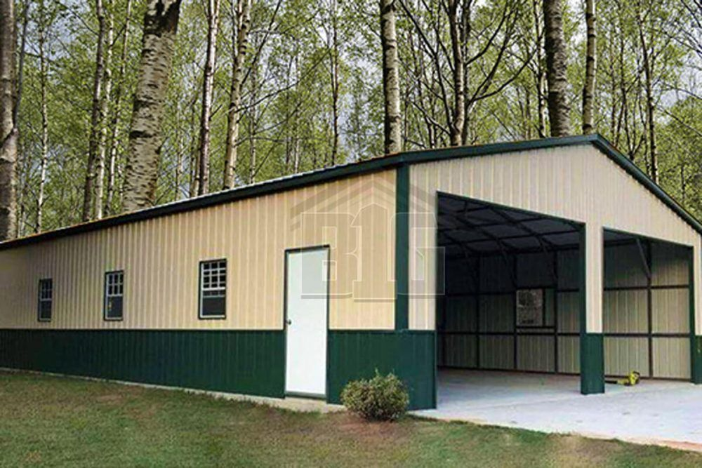 The Captain Garage 28x50x10 Big Buildings Direct Building Green Homes Steel House Shed With Porch