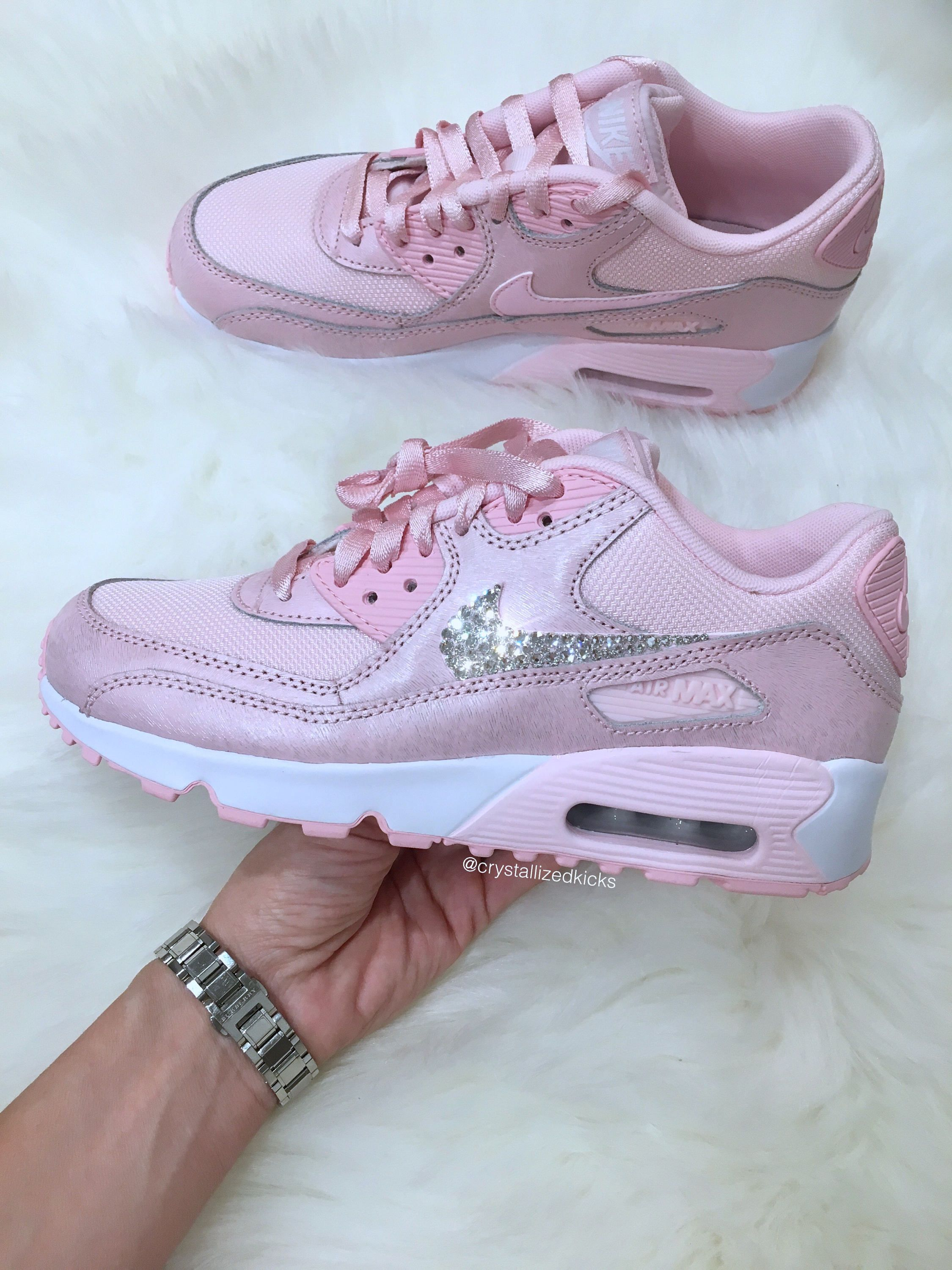 Nike Air Max 90 Made with SWAROVSKI® Crystals COLOR  Pink White ... 4c02250bbd