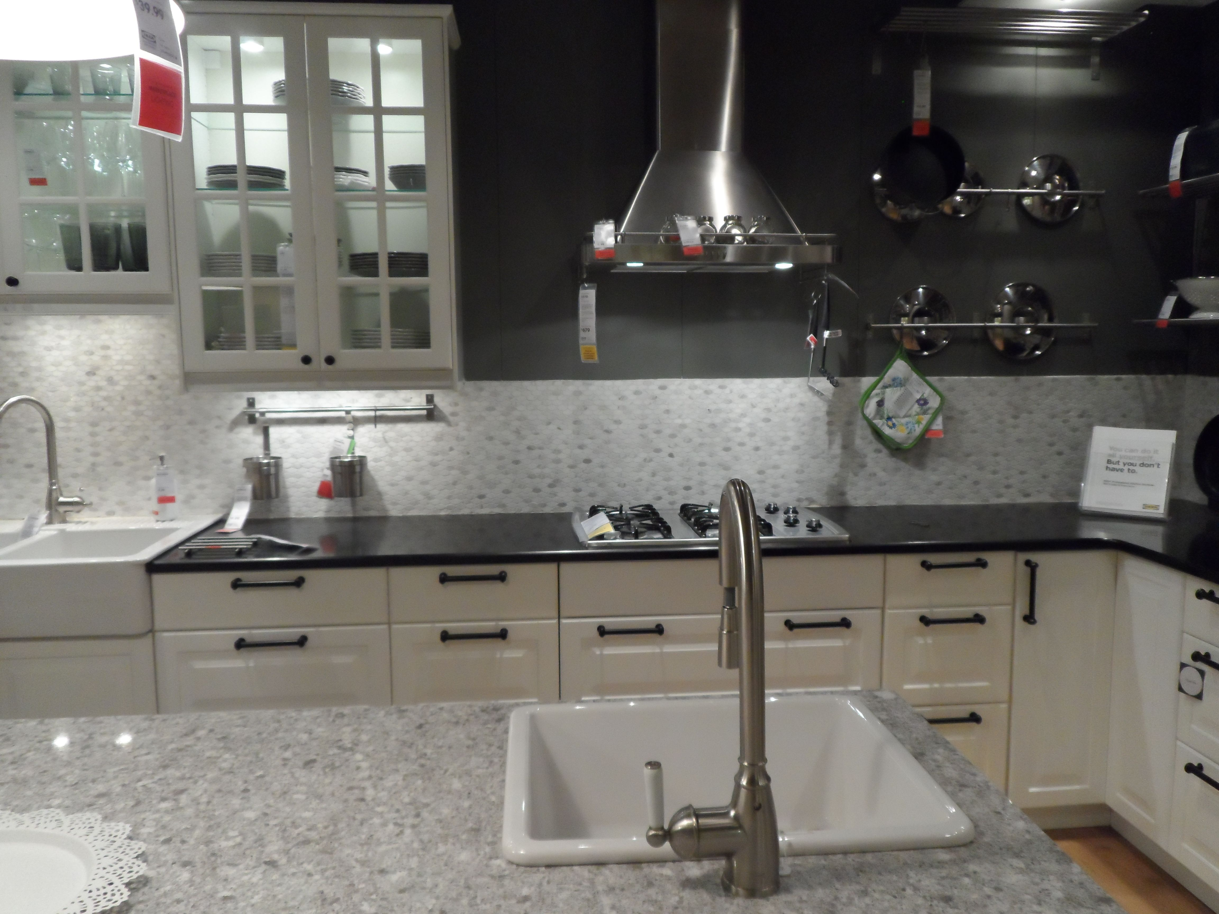 Ikea Kitchen Showroom Grey Or Gray, White Cabinets, Tile Backspash And  Glass Upper Cabinets