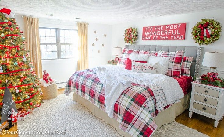 Plaid Christmas Bedroom / Featuring white walls, Red Plaid Bedding