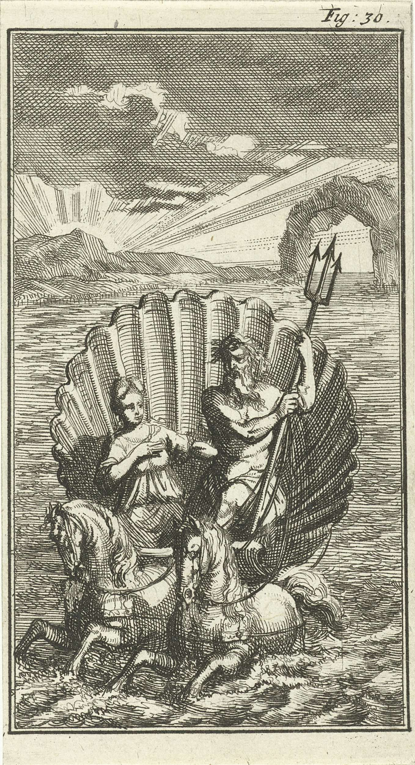 Jan Luyken | Neptunus en Amphitrite op een schelp voortgetrokken door zeepaarden, Jan Luyken, Barent Beeck, 1691 | Prent rechtsboven gemerkt: Fig. 30.