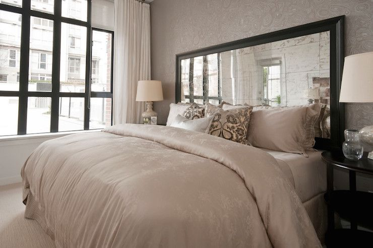 Mirrored headboards transitional bedroom the cross - Bedroom sets with mirror headboard ...