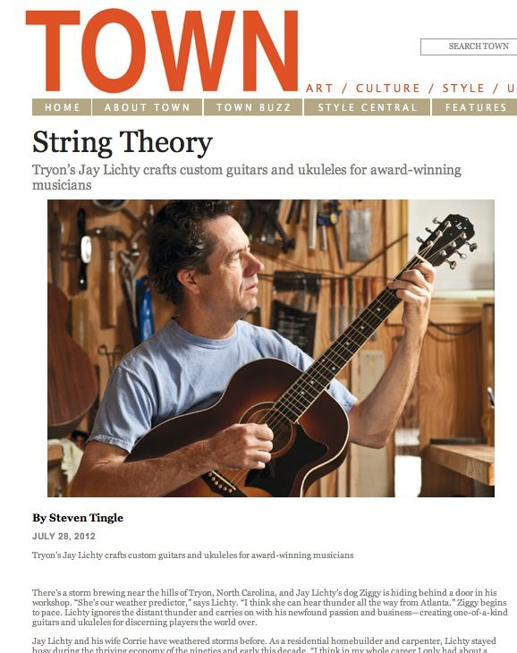 Town Magazine Features Lichty Guitars Guitar Guitar Magazine Luthier