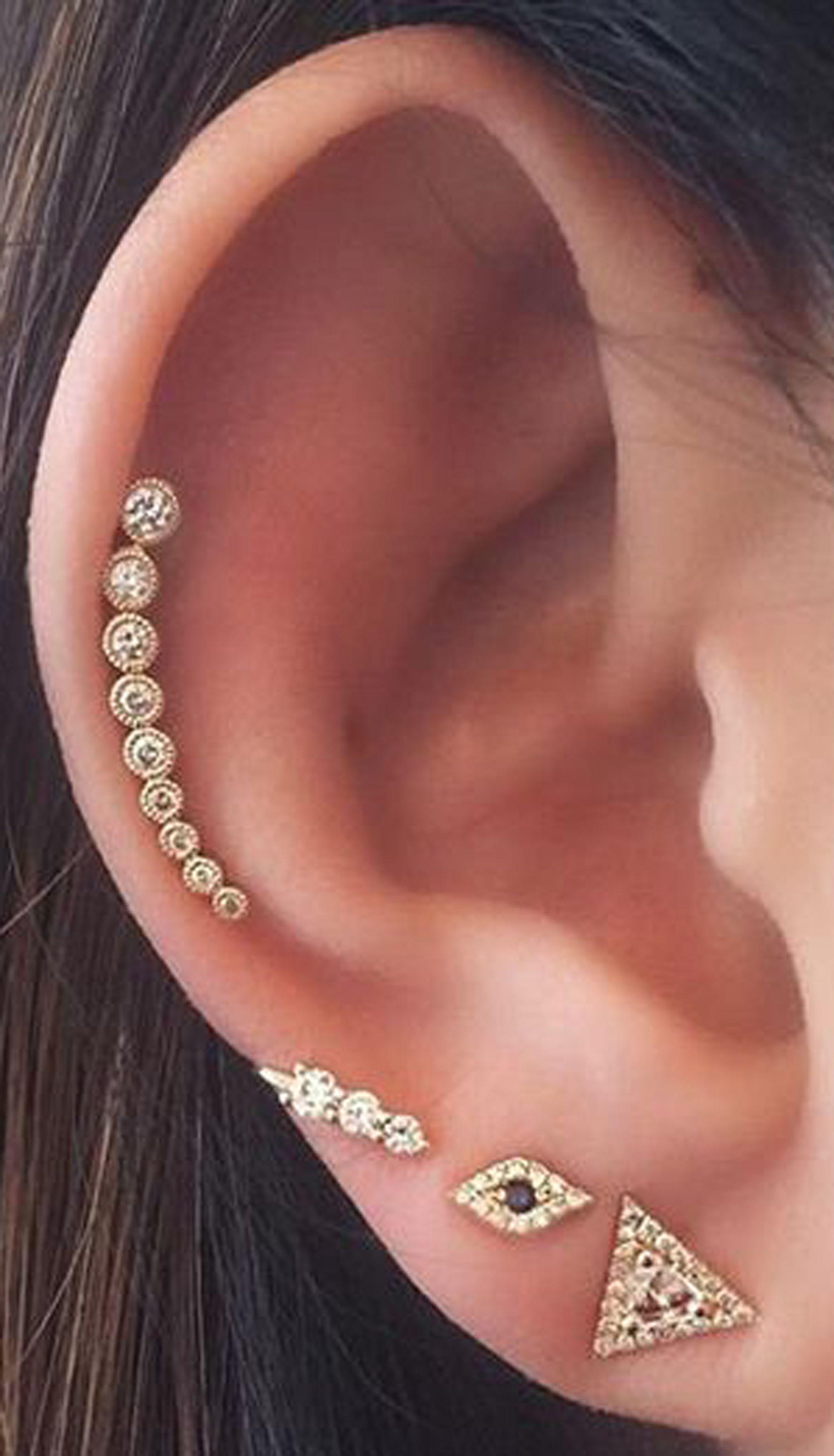 53c944b8d cute cartilage simple gold ear piercing ideas - www.MyBodiArt.com ...