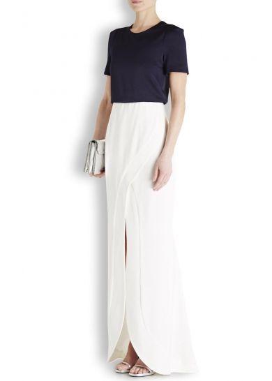 Navy satin gazar and crepe gown - Women