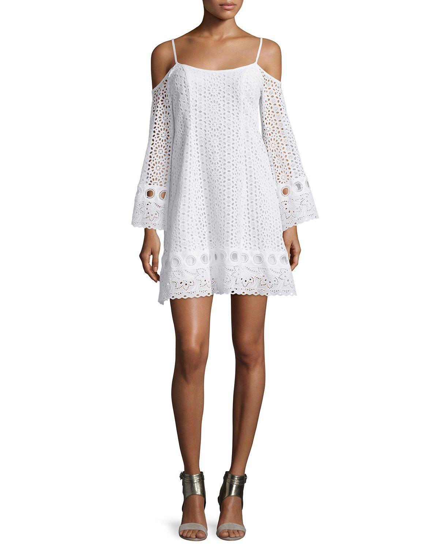 Cold-Shoulder Eyelet A-line Dress, White, Women's, Size: 8 - Nanette Lepore