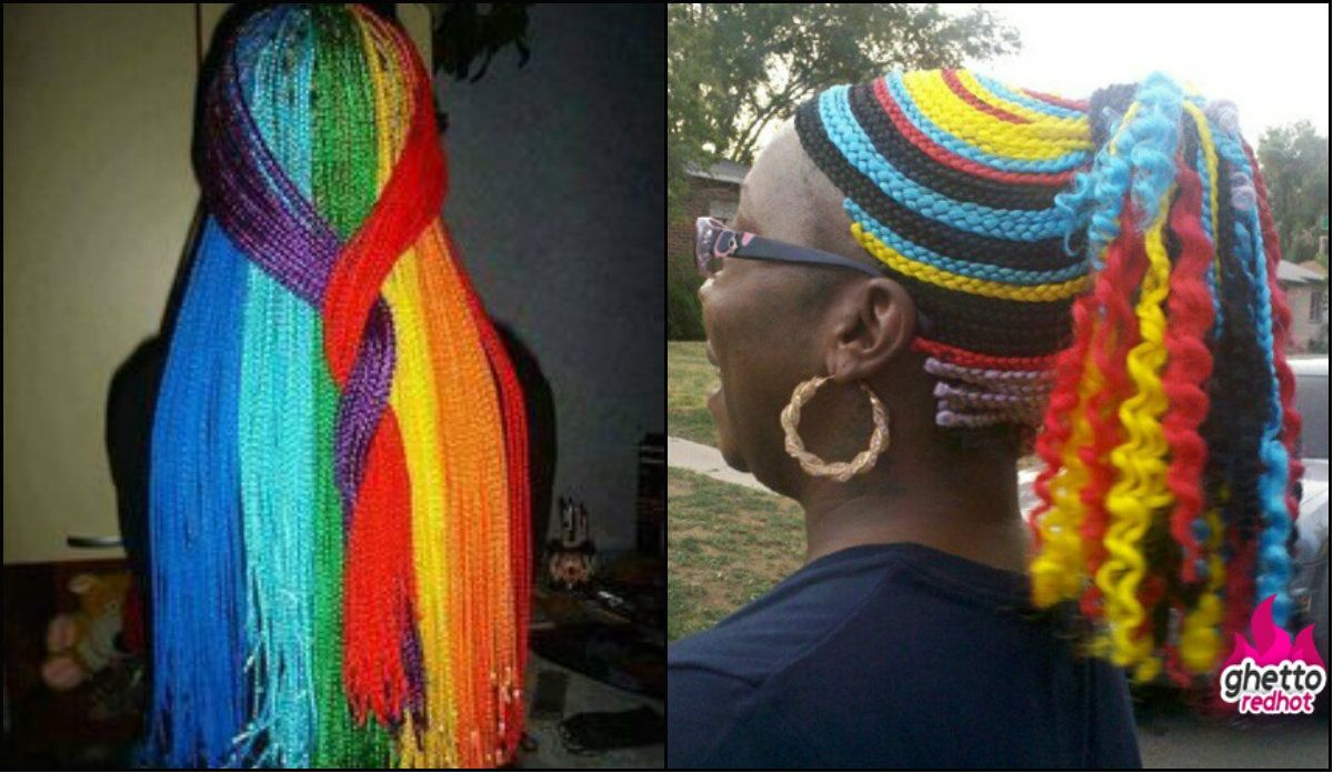multicolored rainbow box braids