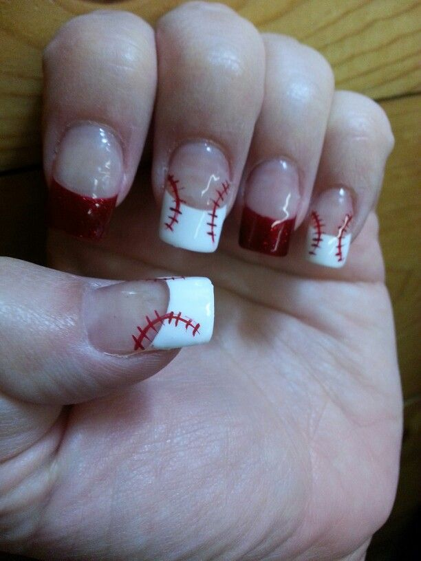 baseball nail art.love u