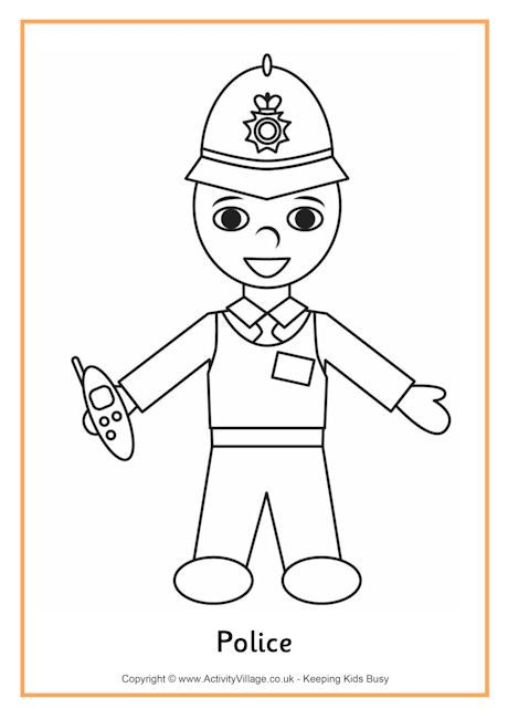 Police Colouring Page