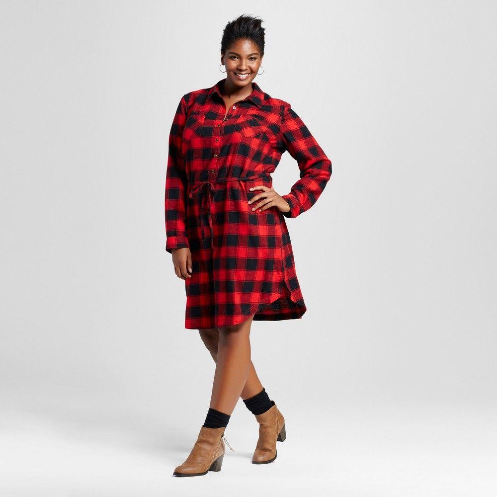 Flannel shirt plus size  Womenus Plus Size Plaid Flannel Shirtdress Red X  Merona