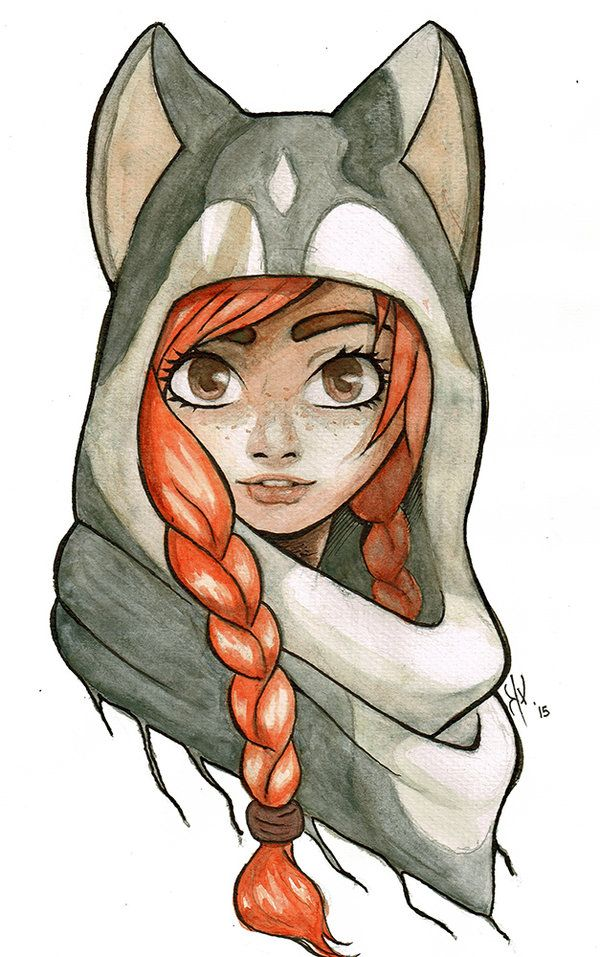 Husky Girl watercolor by Kaoxita