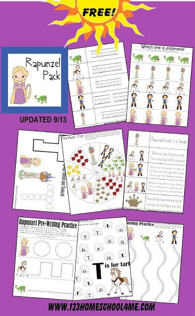 Free Rapunzel Worksheets For Kids Learning With Disney Pinterest