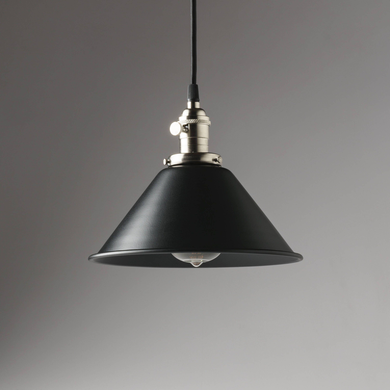 Black Metal Shade Vintage Industrial Pendant Light 8 Hanging