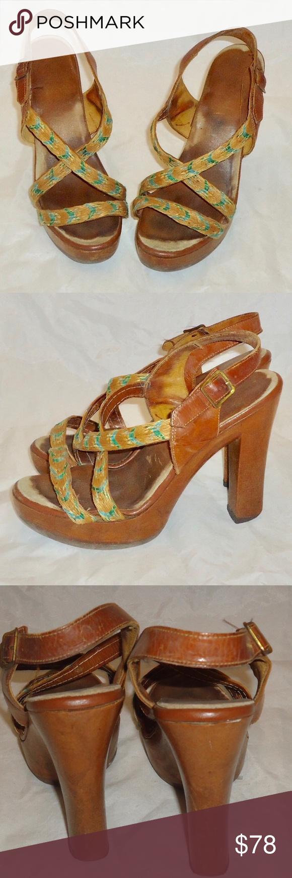 70s Clogs Platforms Sandals Wood Heels Shoes 7.5 Vintage