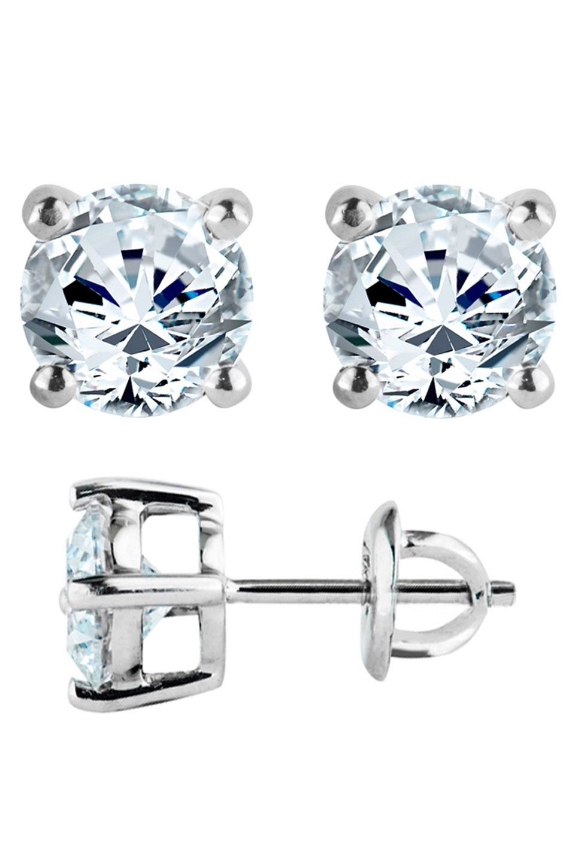 Bijoux Majesty .50 Ct Diamond 4-Prong Studs In 14K White Gold