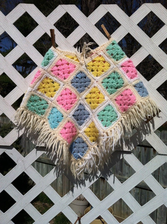 Vintage Hand Crocheted Girl's Pastel Fringed Poncho by staynostalgic on Etsy #pastel #toddler #girlsfashion #crocheted #poncho #etsy #forsale