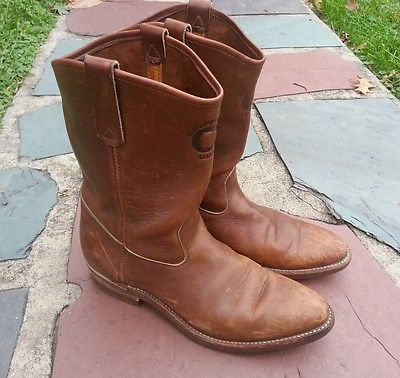 Vintage-Chippewa-Leather-Pull-On-Boots-size-11-5-work-motorcycle-logger
