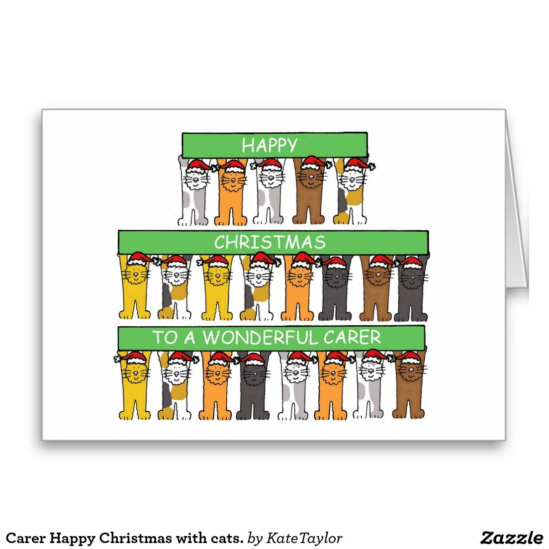 Carer Happy Christmas with cats. Greeting Card