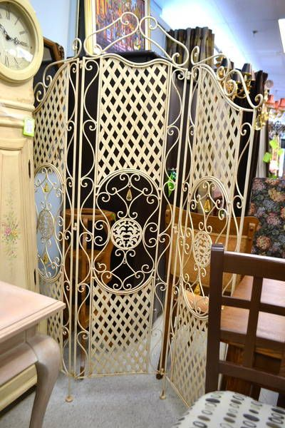 3 Paneled Wrought Iron Room Divider Screen Scrolled And Lattice Detailing With Amber Acrylic