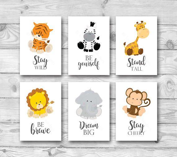 Set of 6 Jungle Animal Nursery Prints, Safari Nursery Wall Art, Jungle Safari Nursery Decor, Lion Tiger Zebra Monkey Giraffe Animal Prints #elephantitems