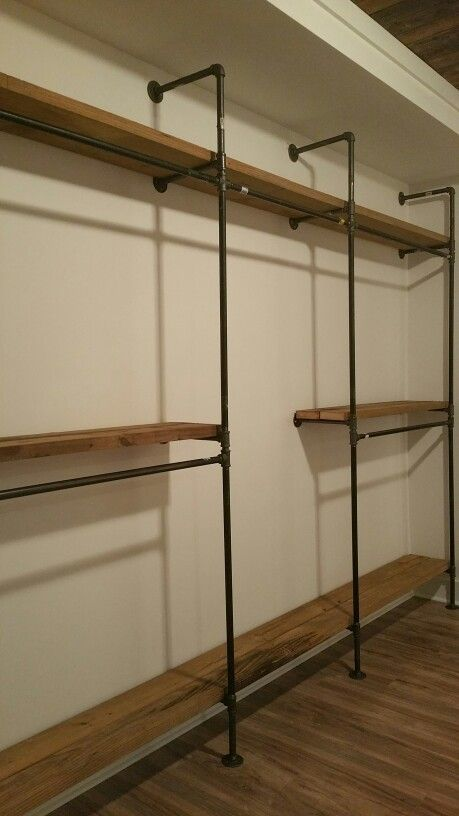 Black Iron Pipe Master Closet Shelving With Tall Dress