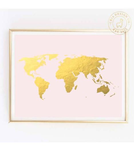 Pink and gold world map gold foil world map world map wall art pink and gold world map gold foil world map world map wall art gumiabroncs Images