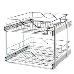 Pull Out Storage Unit, Two Tier, Chrome