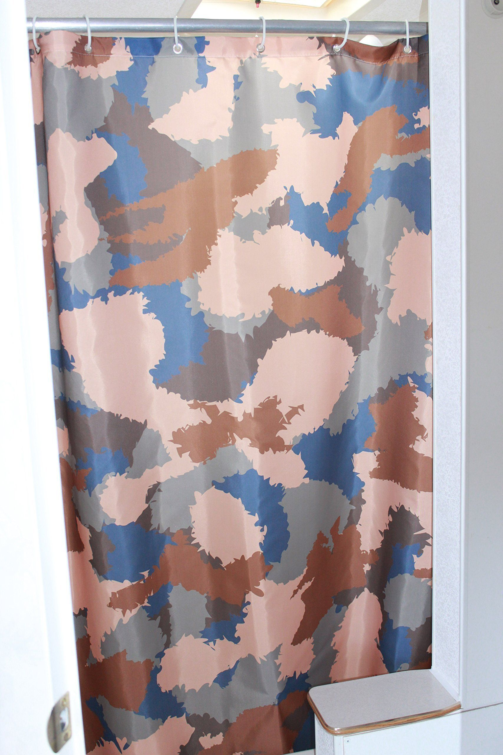 Solid Elements RV Shower Camo Curtain Accessories Gear For Camper Trailer Camping Bathroom Shorter And Narrow Sliding Camouflage Cloth With